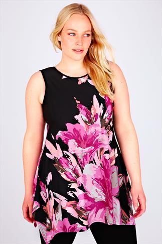 Black & Pink Floral Print Sleeveless Top With Hanky Hem