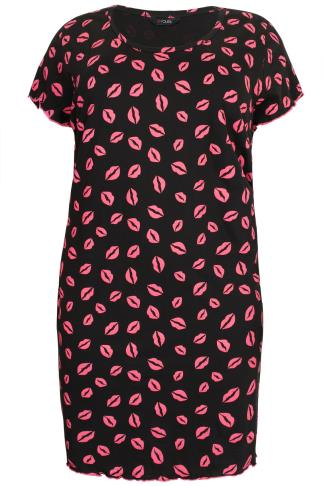 Black & Pink Lip Print Nightdress