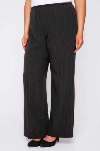 Black Pinstripe Wide Leg Trousers