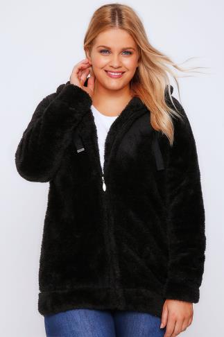 Black Plain Fluffy Hooded Fleece With Zip