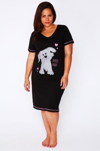 "Black ""Pretty Pooch"" Print Cotton Nightdress"