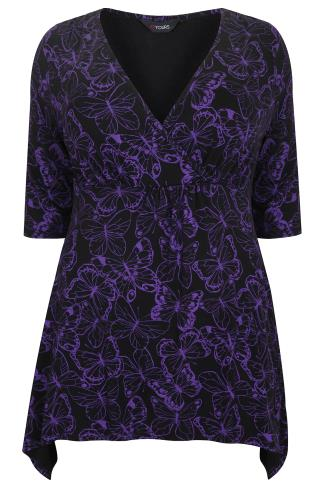 Black & Purple Butterfly Print Wrap Front Top