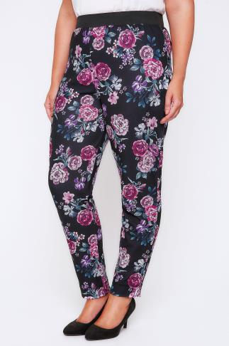 Black & Purple Floral Peony Print Harem Trousers