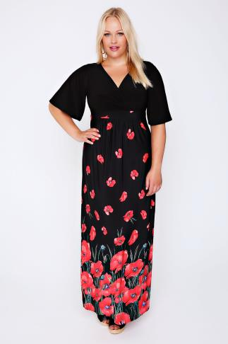 Black & Red Poppy Print Wrap Front Maxi Dress