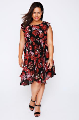 Black & Red Rose Print Chiffon Skater Dress With Hanky Hem