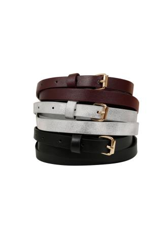 Black Silver & Dark Red Skinny Waist Belt - 3 Pack