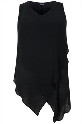 Black Sleeveless Longline Top With Layered Hem