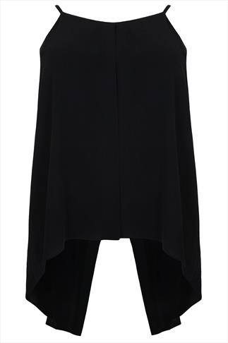 Black Sleeveless Top With Extended Drape Split Panels