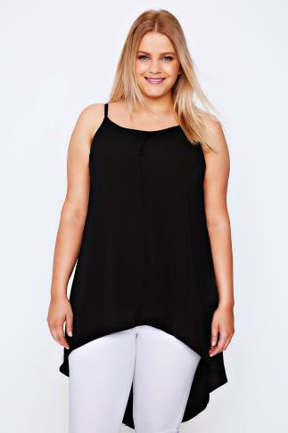 Black Camisole Top With Drape Back Panels