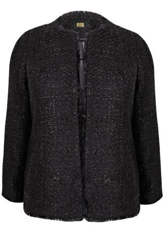 Black Sparkle Boucle Jacket With Fringe Trim