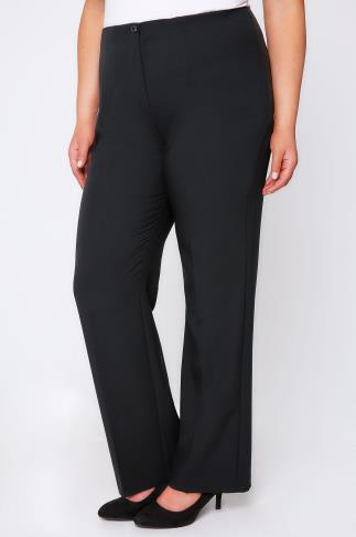 Black Straight Leg Trousers With Elasticated Waist & Invisible Zip