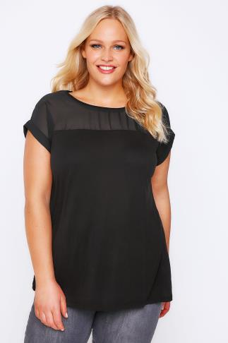 Black Top With Sheer Panel & Short Sleeves
