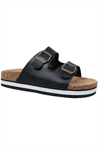 Black Two Strap Cork Effect Platform Sandals In A EEE Fit