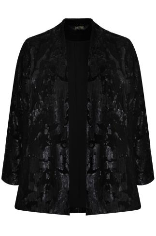 Black Velvet & Sequin Embellished Fully Lined Jacket