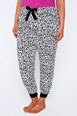 Black & White Animal Print Pyjama Bottoms