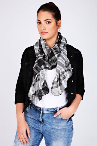 Black & White Check Elasticated Ruffle Scarf