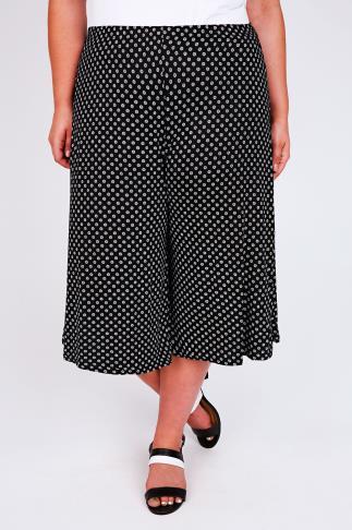 Black & White Daisy Print Culottes