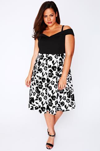 Black & White Floral Print Bardot Dress