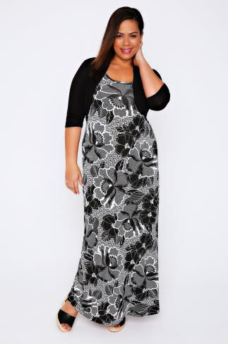 Black & White Floral Print Maxi Dress With Black Shrug