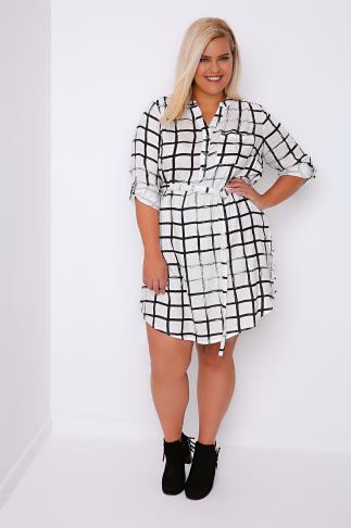 Black & White Grid Print Long Sleeve Tie Waist Dress
