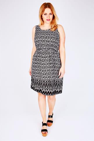 Black & White Ikat Print Sleeveless Dress With Pockets