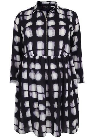 Black, White & Indigo Printed Dress With Ruched Waist & Zip Front