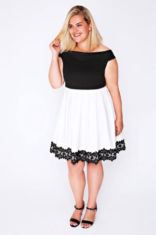 Black & White Lace Hem Bardot Skater Dress