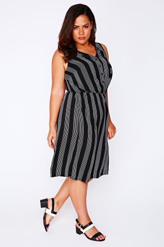 Black & White Pin Stripe Sleeveless Shirt Dress