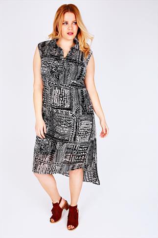 Black & White Sleeveless Aztec Print Maxi Shirt Dress