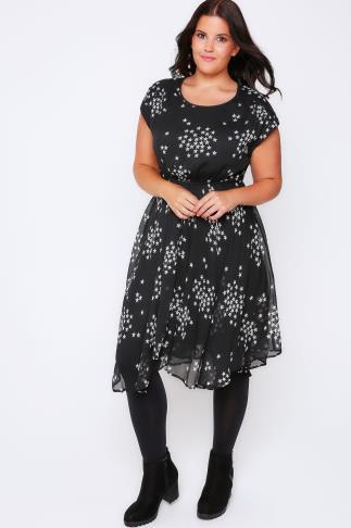 Black & White Star Print Dress Hanky Hem Dress