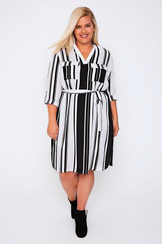 Black & White Striped Chiffon Tie Waist Midi Dress
