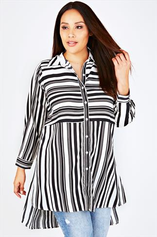 Black & White Striped Longline Shirt With Split Sides and Dipped Hem