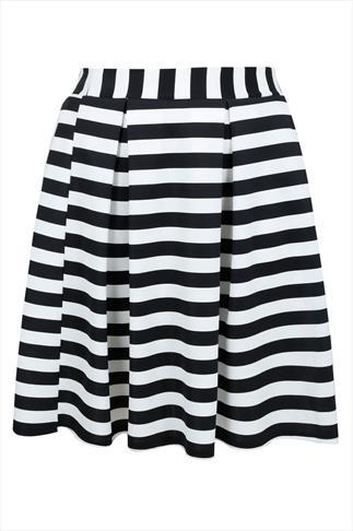 Black & White Striped Skater Skirt With Pleating