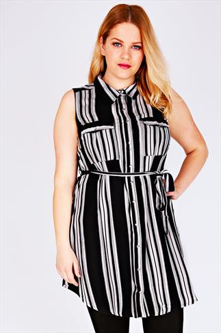 Black & White Striped Sleeveless Longline Shirt With Side Slits