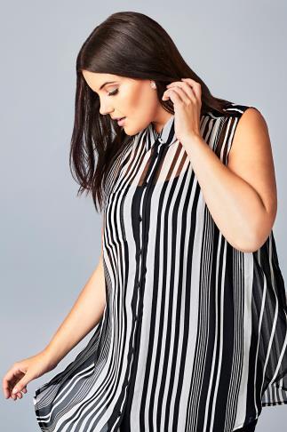 Black & White Striped Sleeveless Sheer Shirt With Side Slits