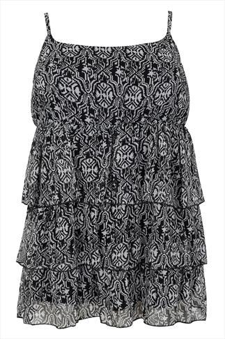 Black & White Tribal Print Frill Swimwear Camisole