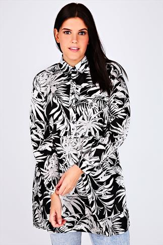 Black & White Tropical Print Longline Shirt