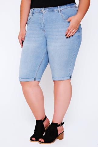Bleach Wash Denim Shorts With Stitch Detail