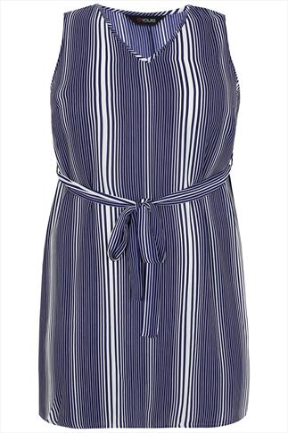 Blue And White Stripe Sleeveless Tunic With Waist Tie