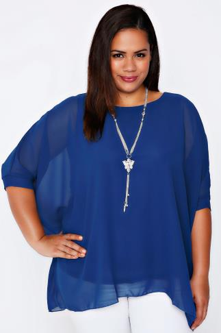 Blue Batwing Sleeve Chiffon Top With Necklace