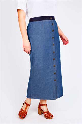 Blue Denim  Button Front  Midi Skirt With Jersey Waistband