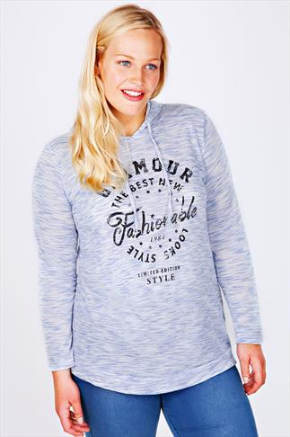 """Blue Jersey  """"Glamour"""" Print Long Sleeve Hooded Top"""