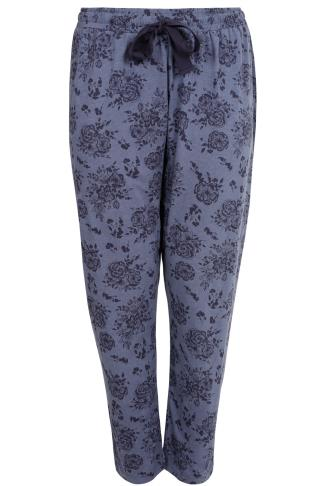Blue Marl Floral Print Pyjama Bottoms