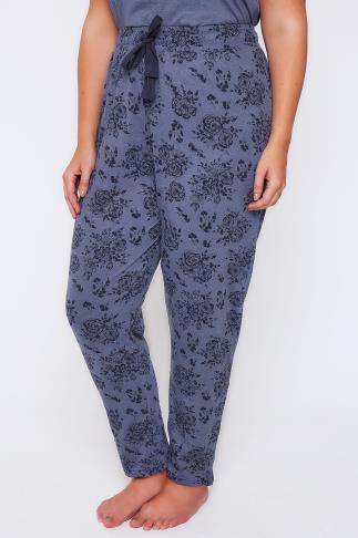 Blue Marl Floral Print Pyjama Bottoms