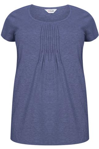 Blue Marl Pyjama Top With Pleated Front