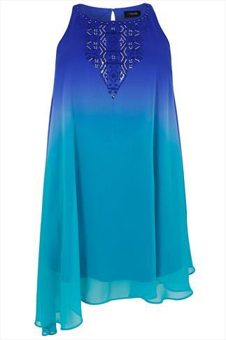 Blue & Turquoise Ombre Chiffon Sleeveless Tunic Dress With Asymmetric Hem