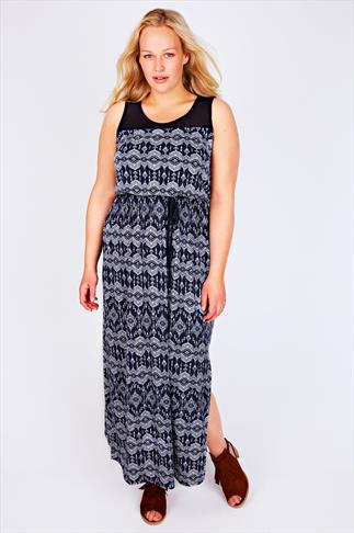 Blue & White Aztec Print Maxi Dress With Sheer Panel