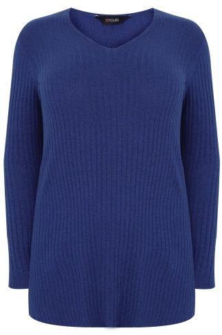 Blue Wool Blend Ribbed Jumper With Side Slit Detail