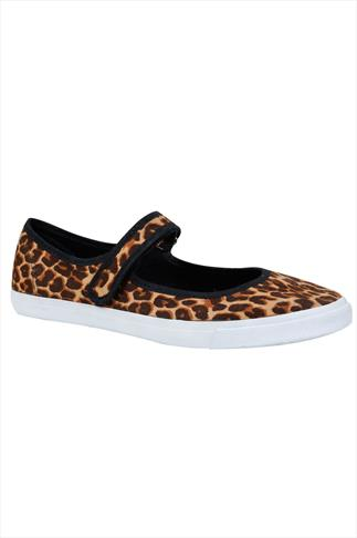 Brown & Black Leopard Print Velcro Strap Plimsolls In EEE Fit