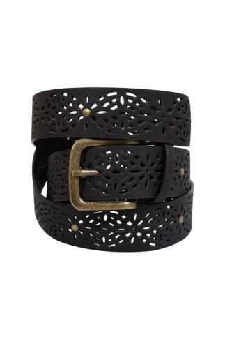 Brown Laser Cut Belt With Studs